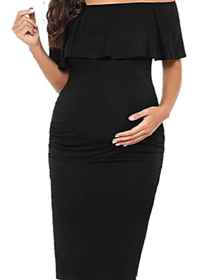 cheap Maternity Dresses-Women's Maternity Knee-length Shift Dress - Short Sleeve Solid Colored Patchwork Elegant Black Blue Red Blushing Pink S M L XL