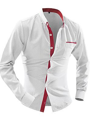 Недорогие Мужские рубашки-Муж. Рубашка Однотонный Верхушки Деловые Белый Морской синий Синий
