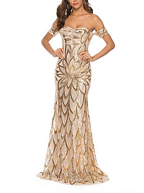 cheap Evening Dresses-Women's Maxi Bodycon Dress - Sleeveless Backless Sequins Off Shoulder Elegant Party Cocktail Party Prom Gold S M L XL / Sexy
