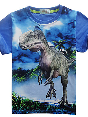 cheap Boys' Tops-Children Boys Cartoon Dinosaur Printing T-Shirt Stylish Short-sleeve Round-neck Tops