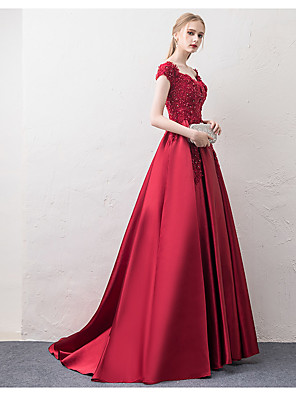 cheap Evening Dresses-A-Line Elegant Red Prom Formal Evening Dress Off Shoulder Short Sleeve Court Train Satin Floral Lace with Beading Appliques 2020