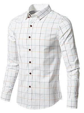 cheap Shirts-Men's Check Shirt Basic Daily White / Blue / Red / Khaki / Gray