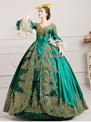 cheap Evening Dresses-Marie Antoinette Rococo 18th Century Dress Ball Gown Women's Lace Satin Costume Burgundy / Green / Royal Blue Vintage Cosplay Party Prom Floor Length Ball Gown Plus Size Customized