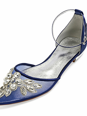 cheap Suits-Women's Wedding Shoes Glitter Crystal Sequined Jeweled Flat Heel Pointed Toe Rhinestone / Sparkling Glitter / Sequin Satin / Mesh Vintage / British Spring & Summer Champagne / White / Ivory
