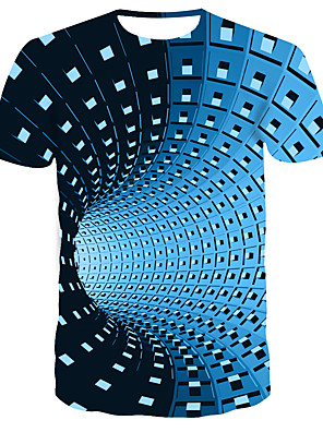 cheap Girls' Dresses-Men's Graphic 3D Print T-shirt Street chic Punk & Gothic Daily Casual Round Neck Black / Blue / Purple / Summer / Short Sleeve