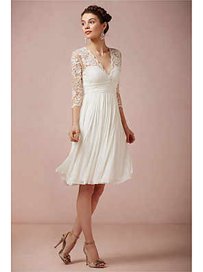 cheap Bridesmaid Dresses-A-Line Wedding Dresses V Neck Knee Length Lace 3/4 Length Sleeve Beach Little White Dress Illusion Sleeve with 2020