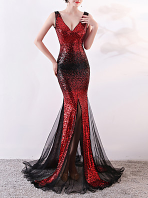 cheap Evening Dresses-Mermaid / Trumpet Elegant & Luxurious Sexy Formal Evening Dress Plunging Neck Sleeveless Sweep / Brush Train Tulle Sequined with Sequin 2020