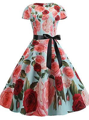 cheap Women's Dresses-Women's Sheath Dress - Short Sleeve Floral Print Vintage Slim White Light Green S M L XL XXL