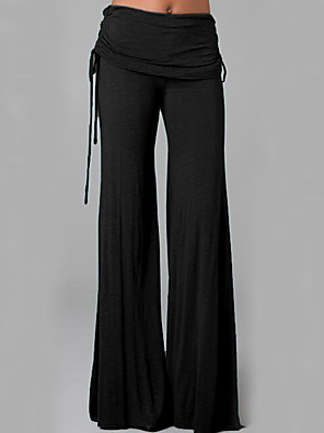 cheap Women's Pants-Women's Basic Loose Wide Leg Chinos Pants - Solid Colored Patchwork White Black Blue S / M / L