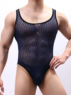 cheap Men's Exotic Underwear-Men's EU / US Size Super Sexy Round Neck Undershirt Geometic Mesh