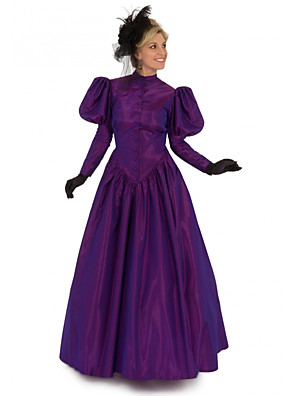 cheap Prom Dresses-Duchess Victorian 1910s Edwardian Dress Women's Costume Purple / Red / Green Vintage Cosplay Masquerade Prom Long Sleeve Floor Length Long Length Ball Gown Plus Size