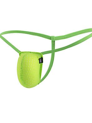 cheap Men's Exotic Underwear-Men's Mesh G-string Underwear - Normal 1 Piece Low Waist Light gray White Orange M L XL