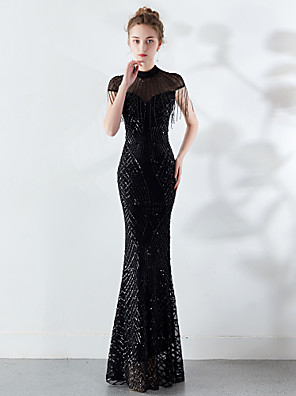 cheap Prom Dresses-Mermaid / Trumpet Sparkle Black Engagement Formal Evening Dress High Neck Short Sleeve Floor Length Tulle Sequined with Sequin Tassel 2020