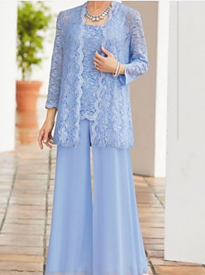 cheap Cocktail Dresses-Two Piece Pantsuit / Jumpsuit Mother of the Bride Dress Wrap Included Square Neck Ankle Length Chiffon Lace Long Sleeve with Ruching 2020