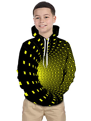 cheap Girls' Dresses-Kids Toddler Boys' Active Basic Rubik's Cube Geometric Galaxy 3D Print Long Sleeve Hoodie & Sweatshirt Black