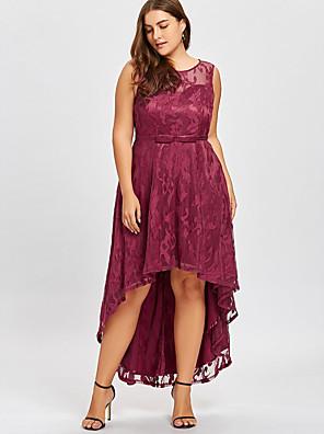 cheap Plus Size Dresses-Women's Asymmetrical Trumpet / Mermaid Dress - Sleeveless Solid Colored Lace Elegant Slim Black Purple Red S M L XL XXL XXXL XXXXL XXXXXL