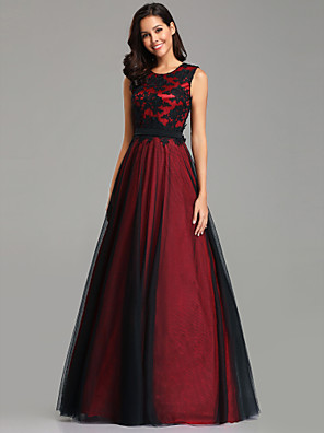 cheap Evening Dresses-A-Line Sexy Red Wedding Guest Formal Evening Dress Jewel Neck Sleeveless Floor Length Lace Spandex Polyester with Lace Insert Appliques 2020