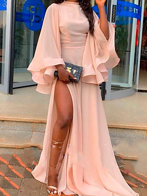cheap Cocktail Dresses-A-Line Empire Pink Party Wear Formal Evening Dress High Neck Long Sleeve Sweep / Brush Train Chiffon with Ruffles Split Front 2020