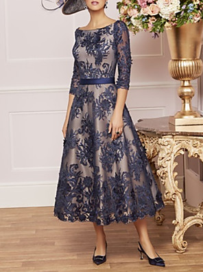 cheap Prom Dresses-A-Line Mother of the Bride Dress Elegant Vintage Plus Size Bateau Neck Tea Length Lace Half Sleeve with Lace Sash / Ribbon 2020