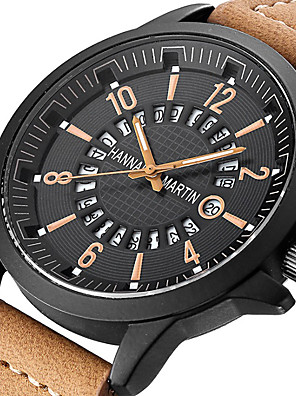 cheap Dress Classic Watches-Men's Dress Watch Quartz Sporty Stylish PU Leather Black / Orange / Brown Calendar / date / day Analog Fashion Skeleton - Black Orange Brown One Year Battery Life / Stainless Steel