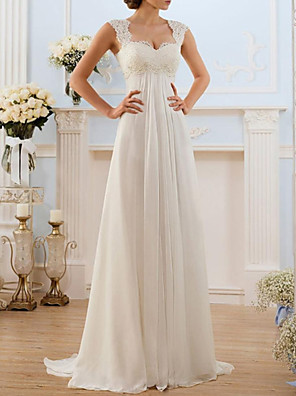 cheap Wedding Dresses-A-Line Wedding Dresses Sweetheart Neckline Sweep / Brush Train Chiffon Lace Spaghetti Strap Simple Vintage Illusion Detail Backless with Lace Insert 2020