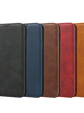 cheap iPhone Cases-Case For Apple iPhone 11 / iPhone 11 Pro / iPhone 11 Pro Max Wallet / Card Holder / with Stand Full Body Cases Solid Colored Genuine Leather Case