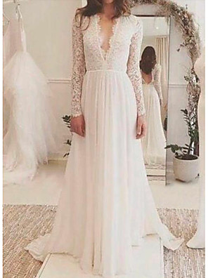 cheap Evening Dresses-A-Line Wedding Dresses V Neck Sweep / Brush Train Lace Long Sleeve Backless Illusion Sleeve with Lace Insert 2020