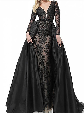 cheap Wedding Dresses-A-Line See Through Formal Evening Dress Plunging Neck Long Sleeve Sweep / Brush Train Lace Taffeta with Pleats 2020