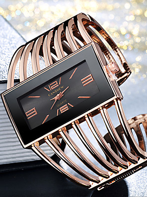 cheap Quartz Watches-Women's Ladies Bracelet Watch Gold Watch Quartz Elegant Casual Watch Silver / Gold / Rose Gold Analog - Gold / White Golden+Black Rose Gold One Year Battery Life / Stainless Steel / Large Dial