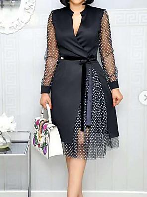 cheap Romantic Lace Dresses-Women's A Line Dress - Long Sleeve Polka Dot V Neck White Black Navy Blue M L XL XXL