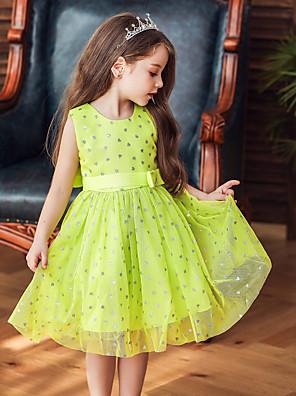 cheap Girls' Dresses-Baby Girls' Active / Basic Print Bow / Patchwork / Print Sleeveless Knee-length Dress Black