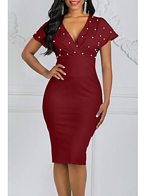 cheap Romantic Lace Dresses-Women's Bodycon Dress - Short Sleeve Solid Colored Polka Dots Deep V Stylish Party Wine White Black Blushing Pink S M L XL XXL XXXL