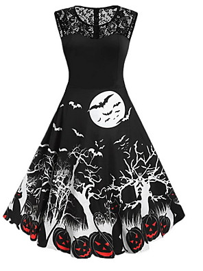 cheap Women's Dresses-Women's A Line Dress - Sleeveless Geometric Basic Halloween Black Purple Red Orange S M L XL XXL XXXL