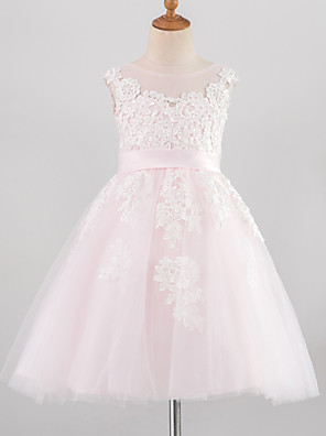 cheap Girls' Dresses-Princess Knee Length Wedding / Birthday / Pageant Flower Girl Dresses - Lace / Satin / Tulle Sleeveless Jewel Neck with Belt / Buttons / Appliques