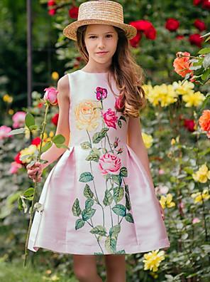 cheap Girls' Dresses-Kids Girls' Active Floral Print Sleeveless Above Knee Dress Blushing Pink