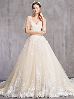 cheap Wedding Dresses-A-Line Wedding Dresses V Neck Chapel Train Tulle Spaghetti Strap Sexy with Beading Embroidery 2020 / Illusion Sleeve