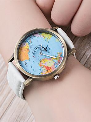 cheap Quartz Watches-Women's Bracelet Watch World Map Quartz Ladies World Map Pattern Quilted PU Leather Black / White / Blue Analog - White Black Yellow One Year Battery Life / Tianqiu 377