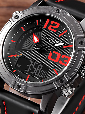cheap Sport Watches-Men's Dress Watch Quartz Sporty Stylish Luxury Noctilucent PU Leather Black / Brown / Grey Analog - Digital - Black Brown Gray One Year Battery Life / Stainless Steel / Japanese / Japanese