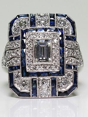 cheap Quartz Watches-Women's Ring 1pc Blue Imitation Diamond Alloy Square Vintage Korean Fashion Daily Jewelry Geometrical Lucky