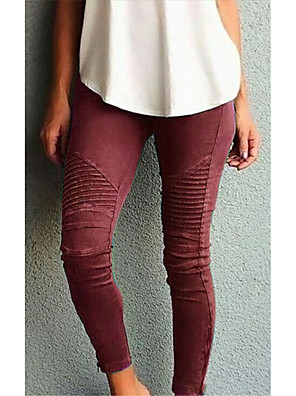cheap Women's Pants-Women's Basic Slim Pants - Solid Colored High Waist Wine Black Blue S / M / L