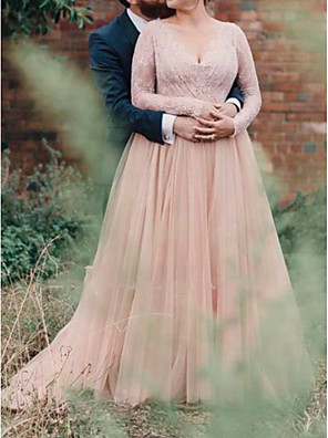 cheap Prom Dresses-A-Line Wedding Dresses V Neck Floor Length Lace Tulle Long Sleeve Country Plus Size with Lace Insert 2020