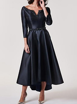cheap Prom Dresses-A-Line Mother of the Bride Dress Plus Size V Neck Tea Length Stretch Satin 3/4 Length Sleeve with Sash / Ribbon Beading 2020 Mother of the groom dresses