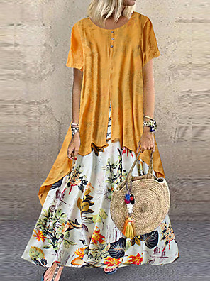 cheap Maxi Dresses-Women's Plus Size Maxi A Line Dress - Short Sleeve Floral Layered Button Print Summer Casual Holiday Vacation Loose 2020 Purple Yellow Pink Orange Green M L XL XXL XXXL XXXXL XXXXXL
