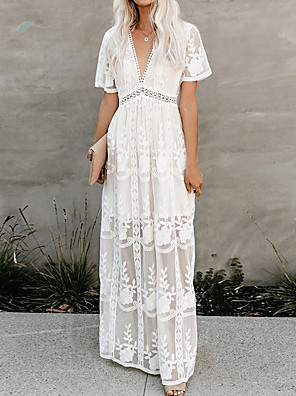 cheap Evening Dresses-Women's Maxi Swing Dress - Short Sleeve Floral Solid Color Lace V Neck Elegant Cocktail Party Going out Birthday White S M L XL