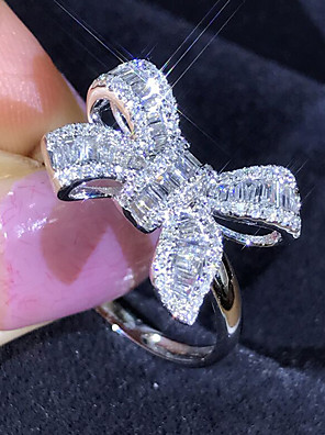 cheap Quartz Watches-Women's Ring 1pc Silver Imitation Diamond Alloy Luxury Korean Fashion Daily School Jewelry Vintage Style Bowknot