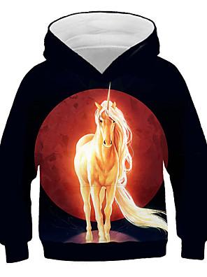 cheap Boys' Tops-Kids Girls' Active Street chic Print 3D Animal Print Long Sleeve Hoodie & Sweatshirt Black