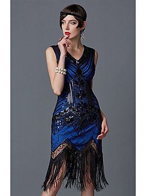 cheap Historical & Vintage Costumes-The Great Gatsby Charleston 1920s Roaring Twenties Summer Flapper Dress Women's Lace Sequins Chiffon Organza Costume Emerald Green / Golden / Silvery Vintage Cosplay Party Homecoming Prom Sleeveless