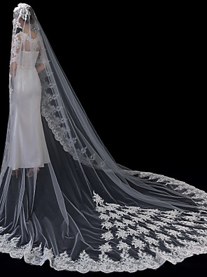 cheap Wedding Veils-One-tier Lace Applique Edge / Elegant & Luxurious Wedding Veil Cathedral Veils with Appliques 118.11 in (300cm) Lace / Tulle / Oval