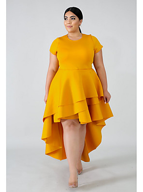 cheap Plus Size Dresses-Women's Asymmetrical A Line Dress - Short Sleeve Solid Colored Black Red Yellow Blushing Pink L XL XXL XXXL