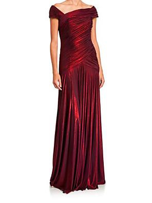 cheap Evening Dresses-Sheath / Column Elegant Red Wedding Guest Formal Evening Dress Off Shoulder Short Sleeve Floor Length Satin with Ruched 2020